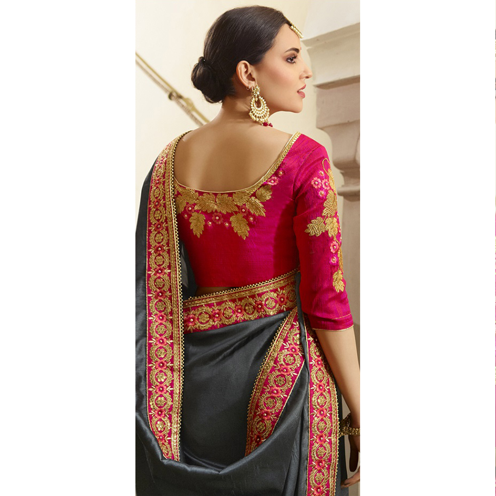 Alluring Grey Colored Party Wear Embroidered Silk Saree