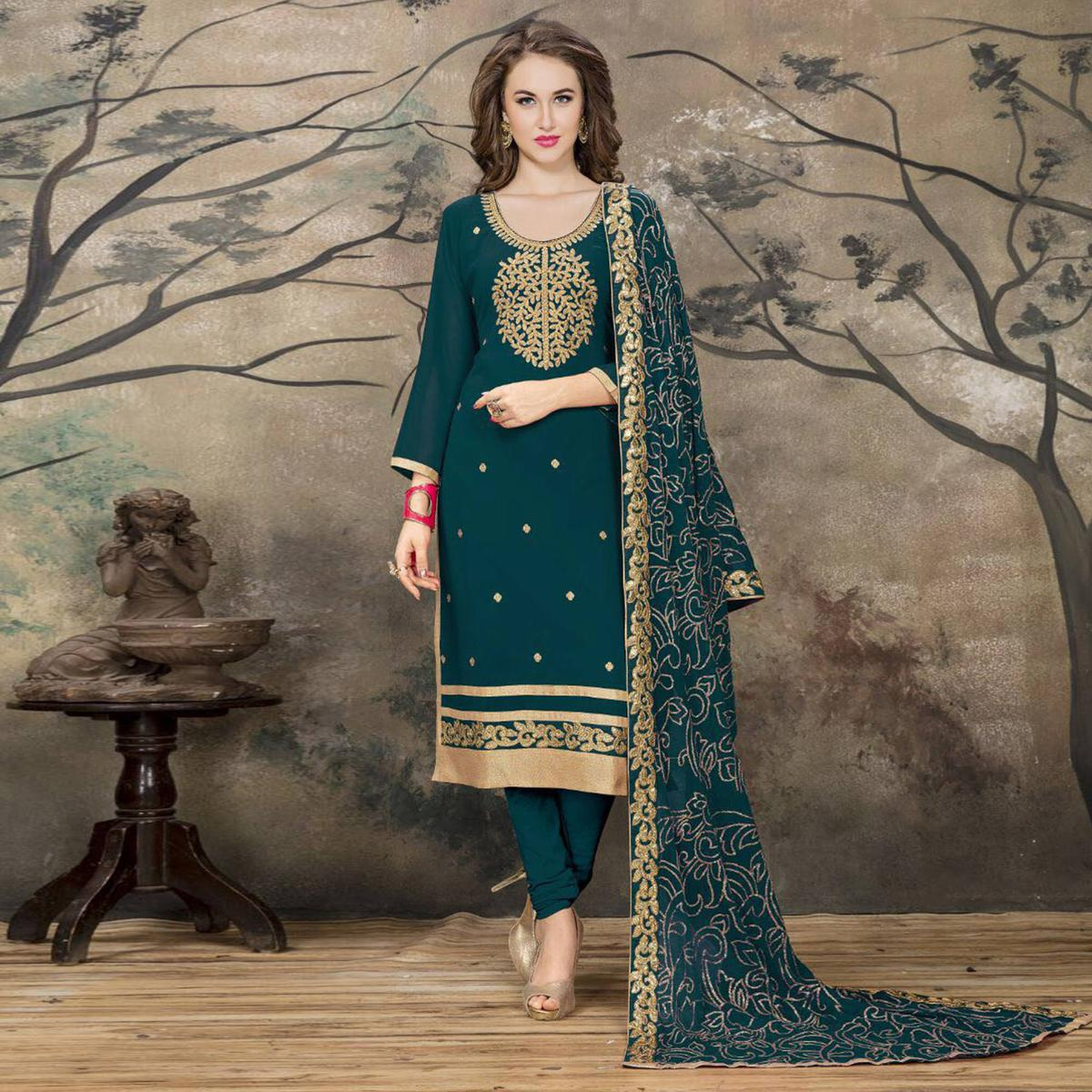 Gorgeous Green Designer Embroidered Faux Georgette Salwar Suit