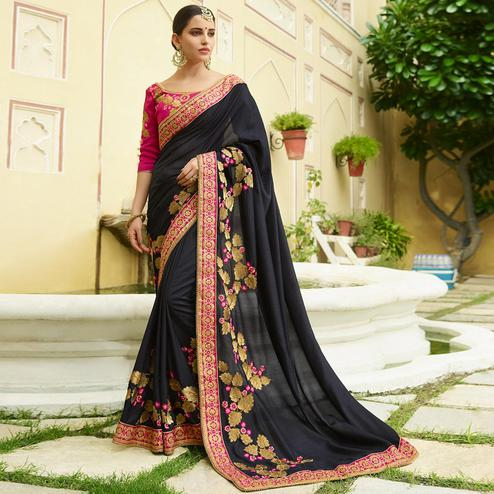 Radiant Black Colored Party Wear Embroidered Silk Saree