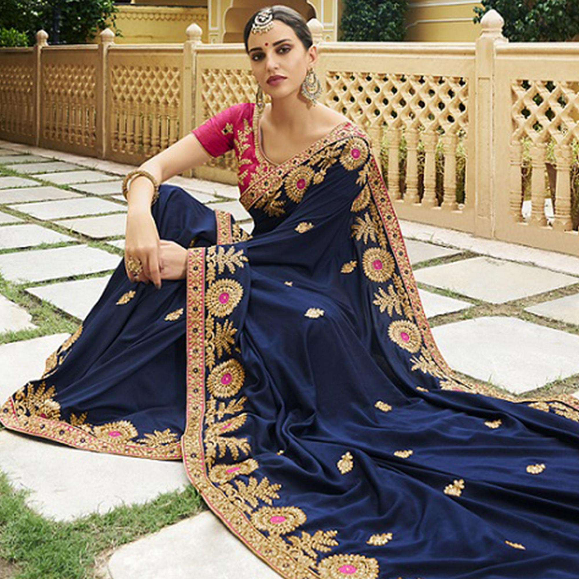 Sensational Navy Blue Colored Party Wear Embroidered Silk Saree