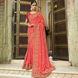 Opulent Pink Colored Party Wear Embroidered Silk Saree