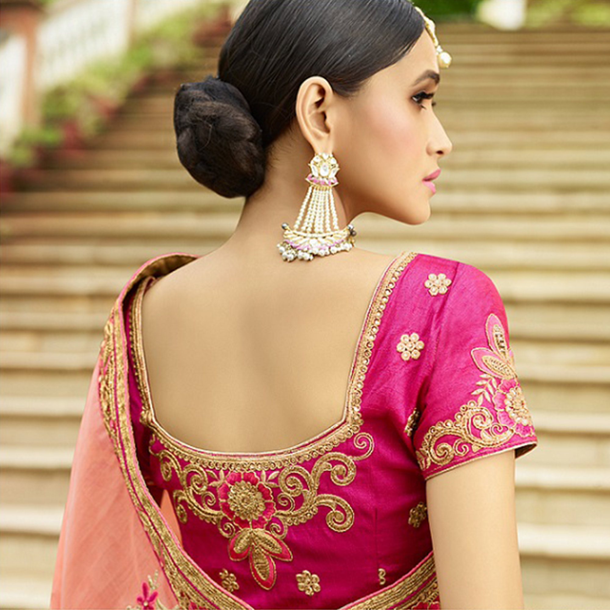 Excellent Pink Colored Party Wear Embroidered Silk Saree