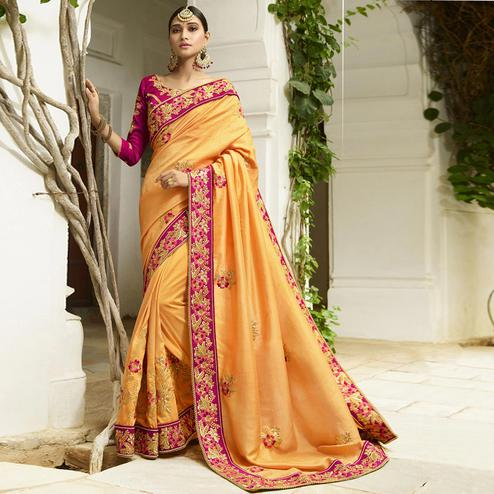 Ethnic Light Orange Colored Party Wear Embroidered Silk Saree