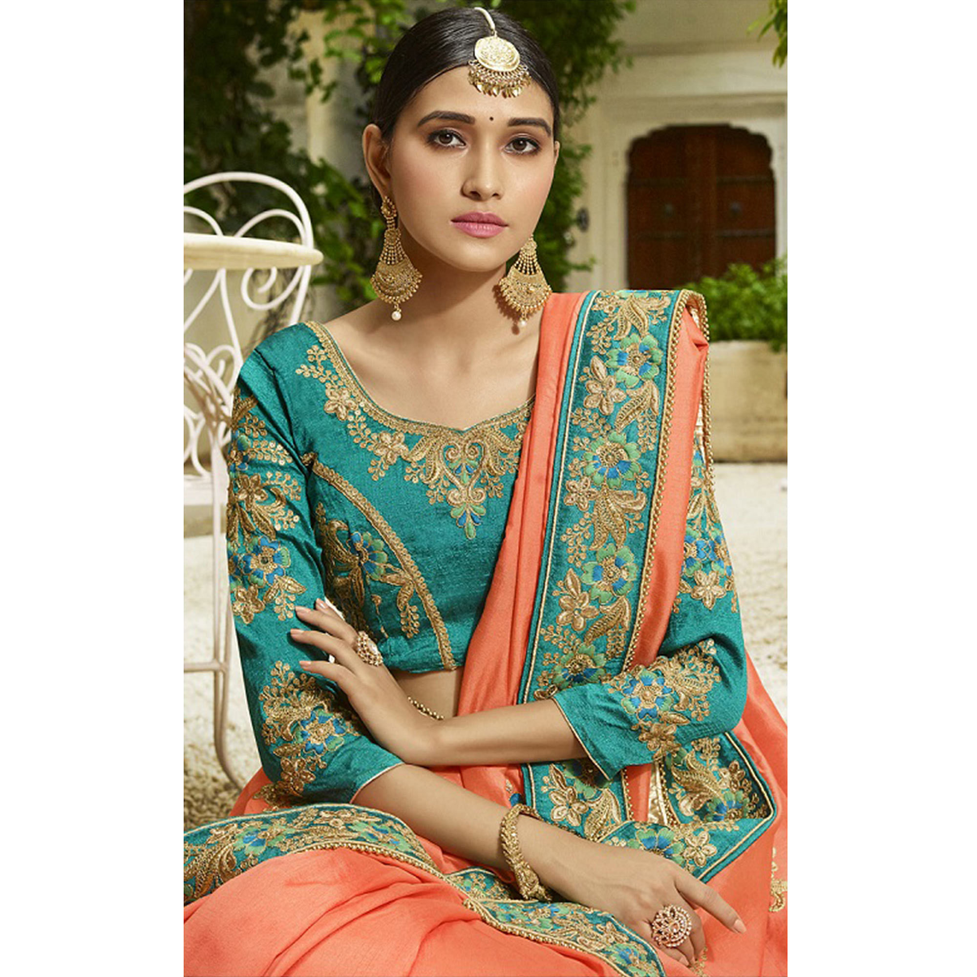 Starring Peach Colored Party Wear Embroidered Silk Saree