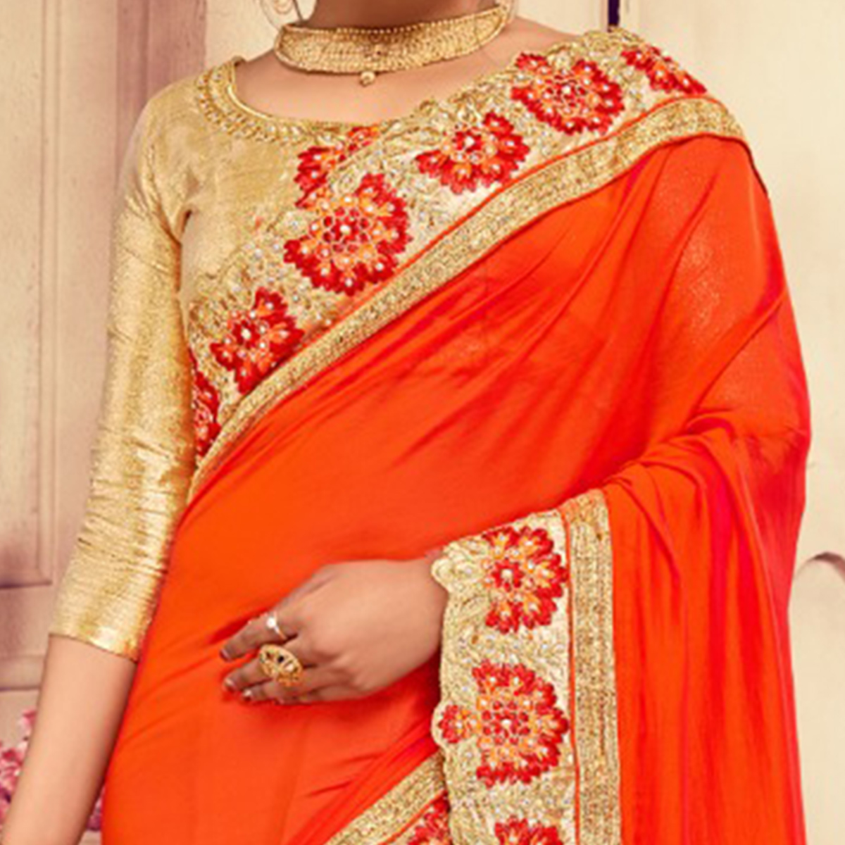 Flattering Orange-Cream Colored Party Wear Embroidered Georgette-Rassel Net Saree