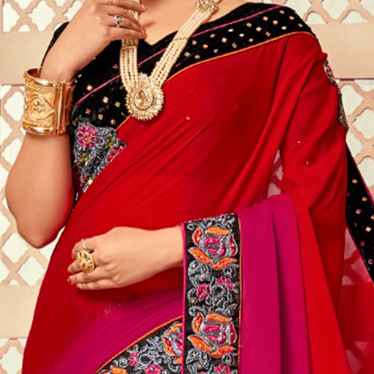Breathtaking Red-Grey Colored Party Wear Embroidered Silk Saree