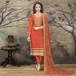 Lovely Orange Designer Embroidered Faux Georgette Salwar Suit