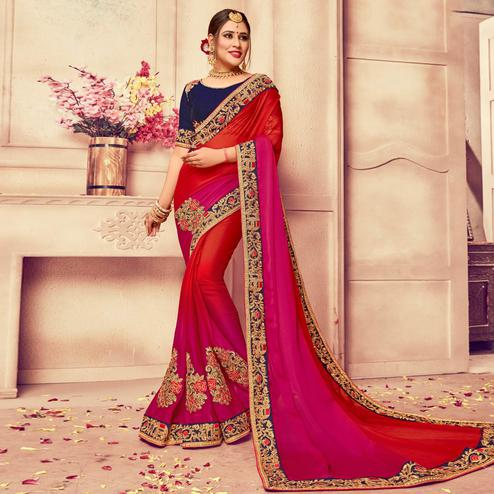 Desirable Red-Pink Colored Party Wear Embroidered Silk Saree