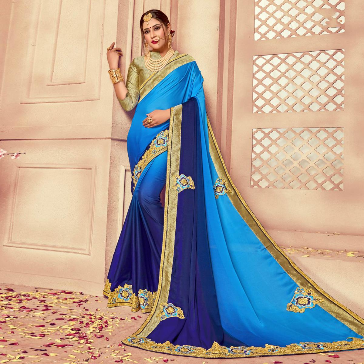 Appealing Shaded Blue Colored Party Wear Embroidered Silk Saree