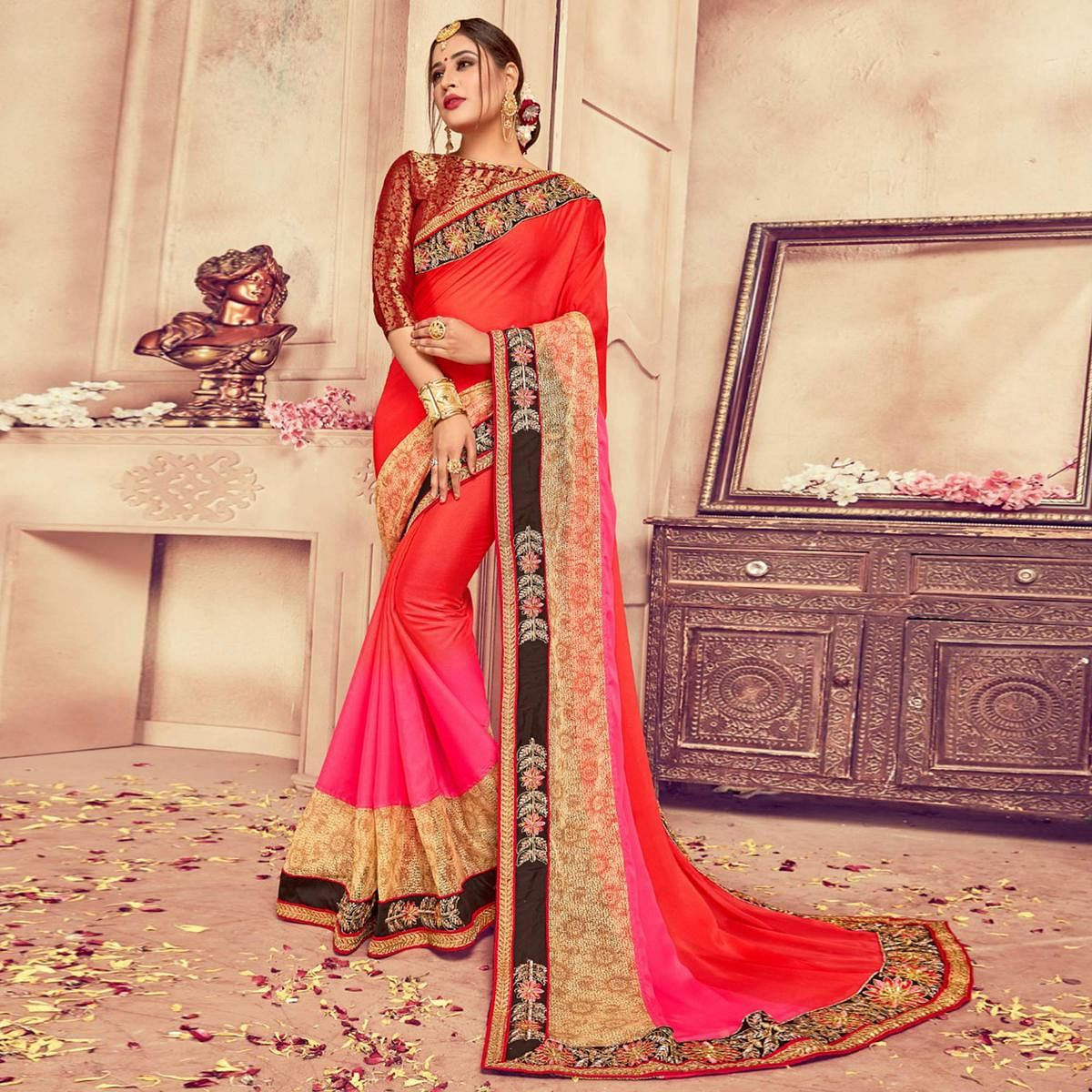 Preferable Red-Pink Colored Party Wear Embroidered Silk-Rassel Net Saree