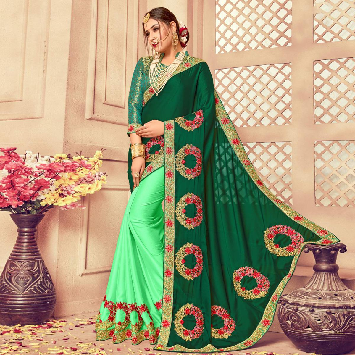 Glowing Shaded Green Colored Party Wear Embroidered Silk Saree