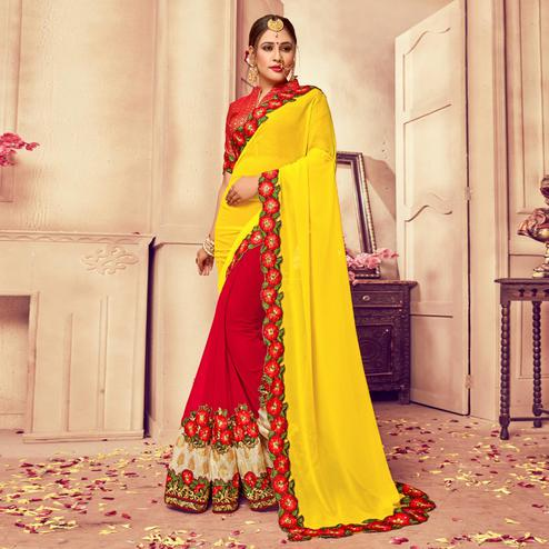 Capricious Yellow-Red Colored Party Wear Embroidered Georgette-Rassel Net Saree