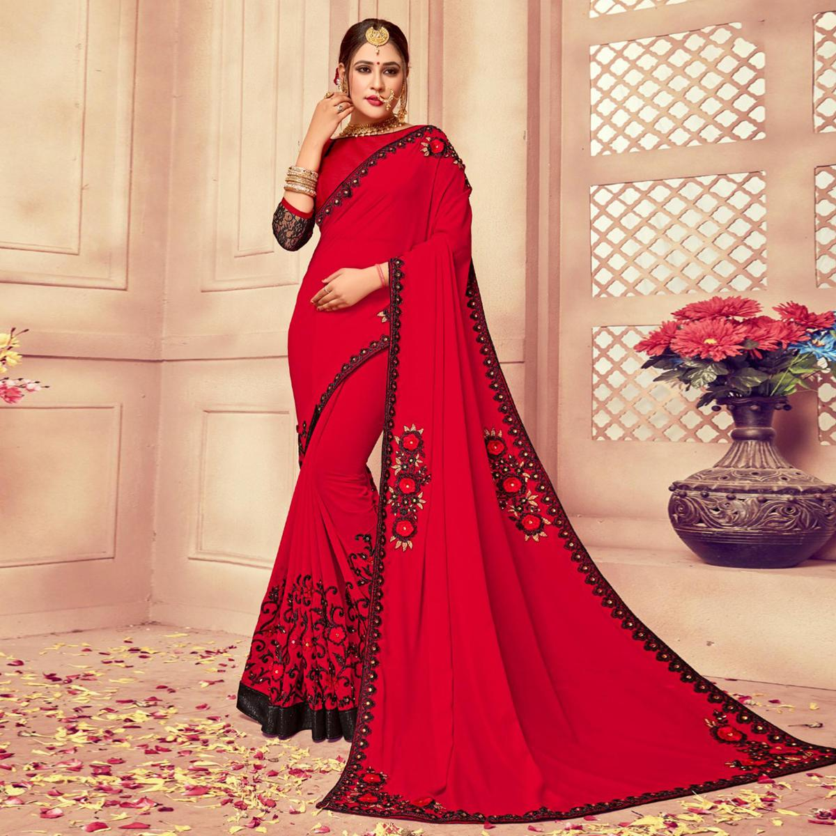 Precious Deep Red Colored Party Wear Embroidered Georgette-Rassel Net Saree