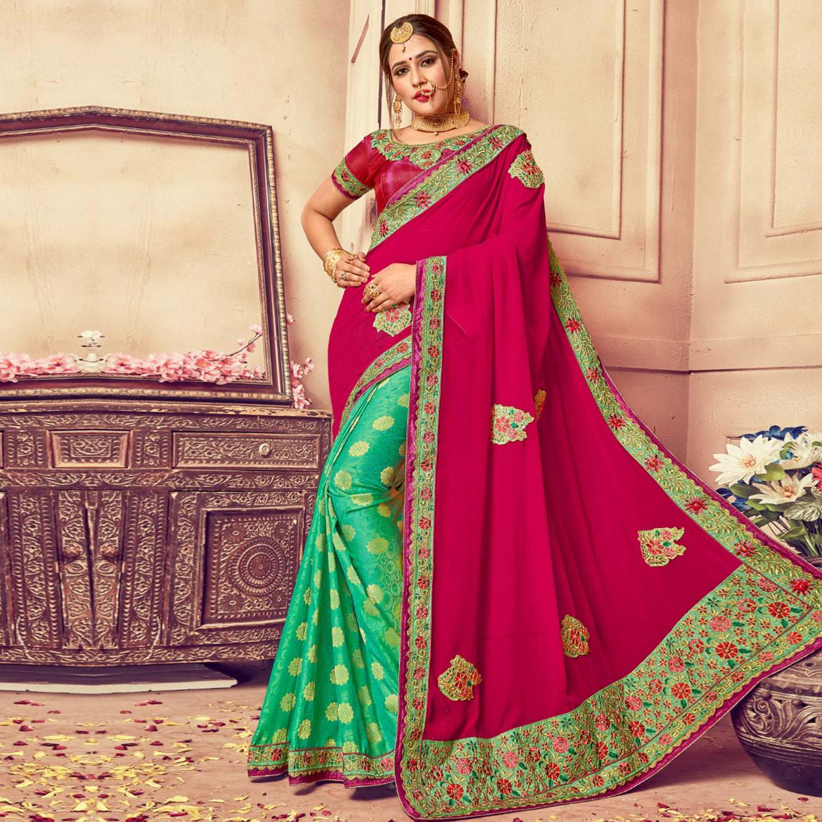 Pleasance Magenta-Green Colored Party Wear Embroidered Georgette-Jacquard Silk Saree
