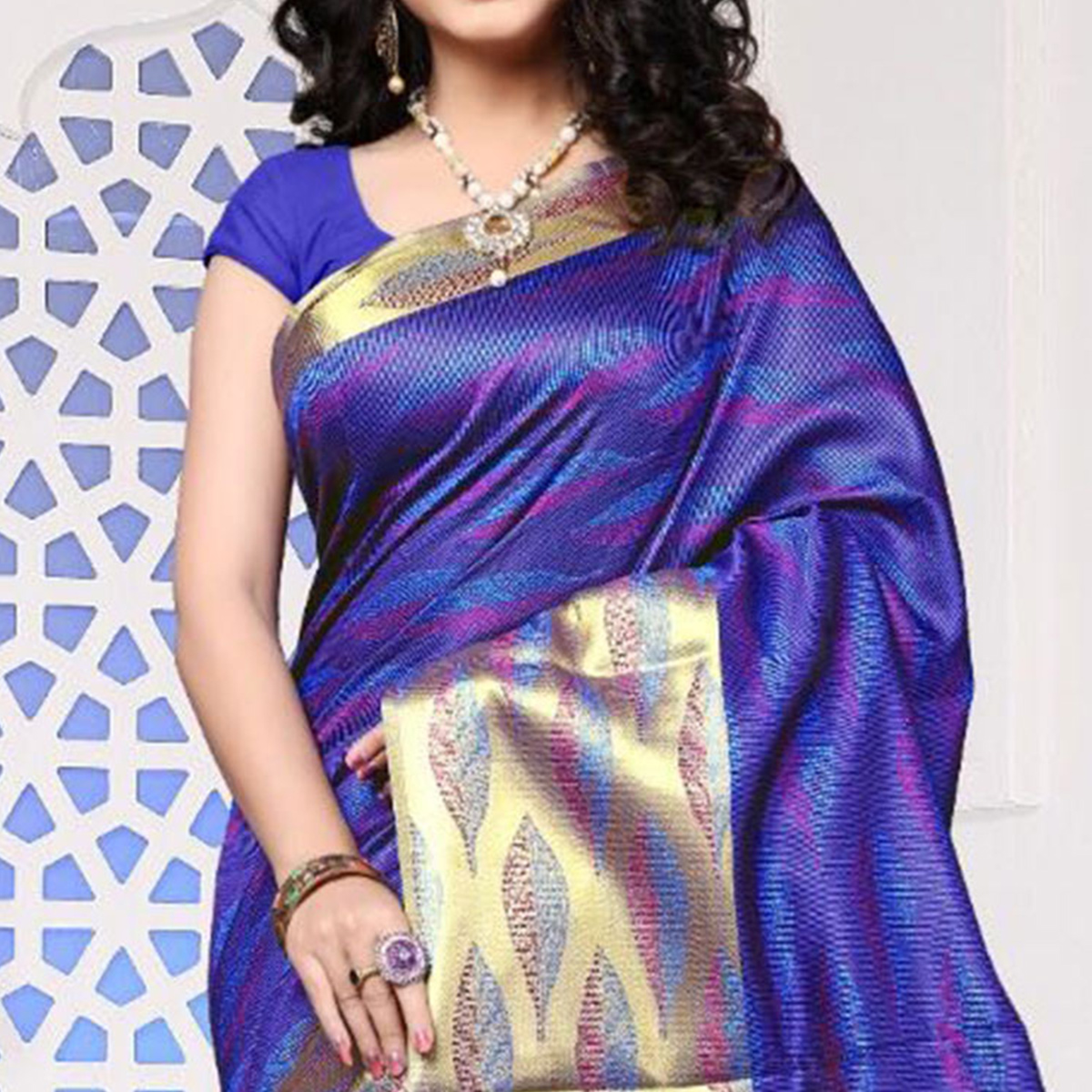 Violet Art Silk Meena Border Saree