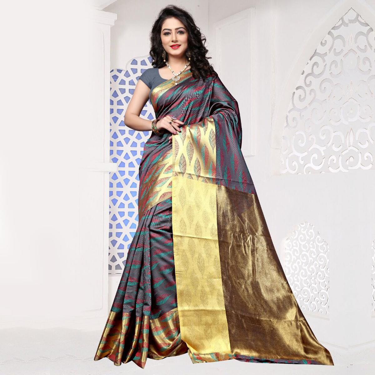 Gray Art Silk Meena Border Saree