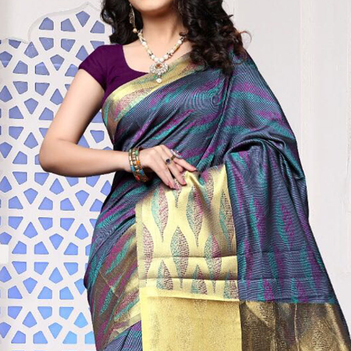 Purple Art Silk Meena Border Saree