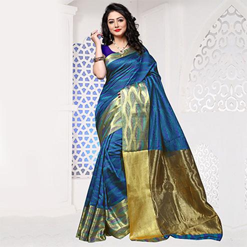 Blue-Green Art Silk Meena Border Saree