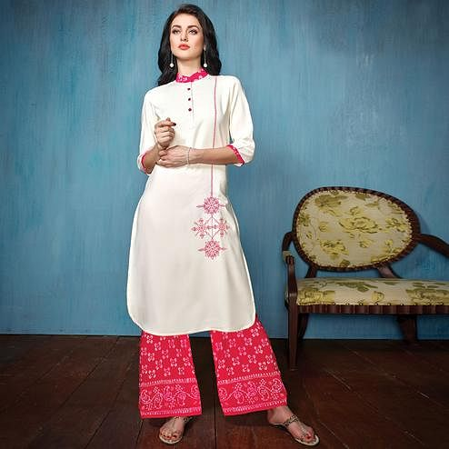 Stylish White-Pink Colored Partywear Embroidered Rayon-Cotton Kurti-Bottom Set
