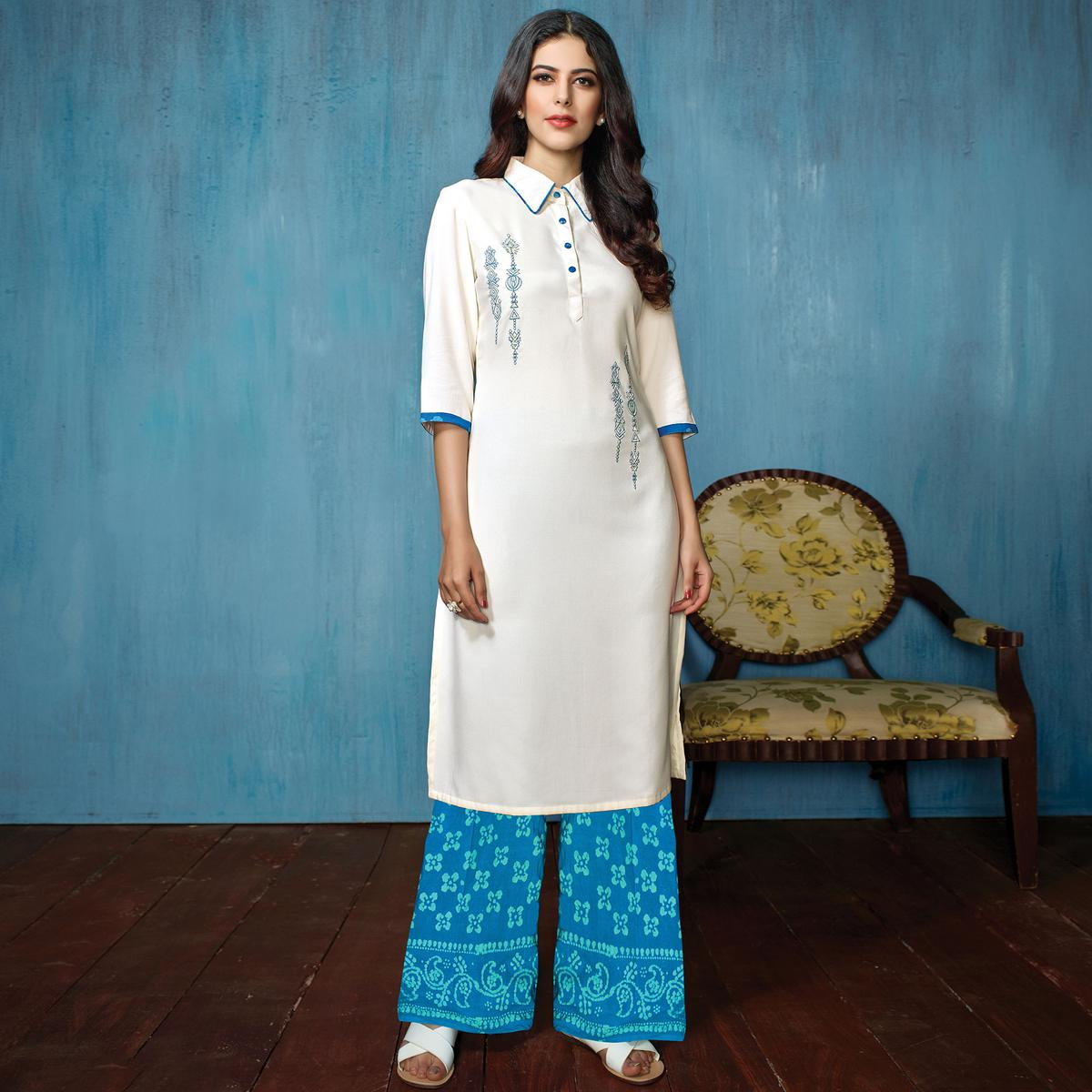Attractive White-Sky Blue Colored Partywear Embroidered Rayon-Cotton Kurti-Bottom Set