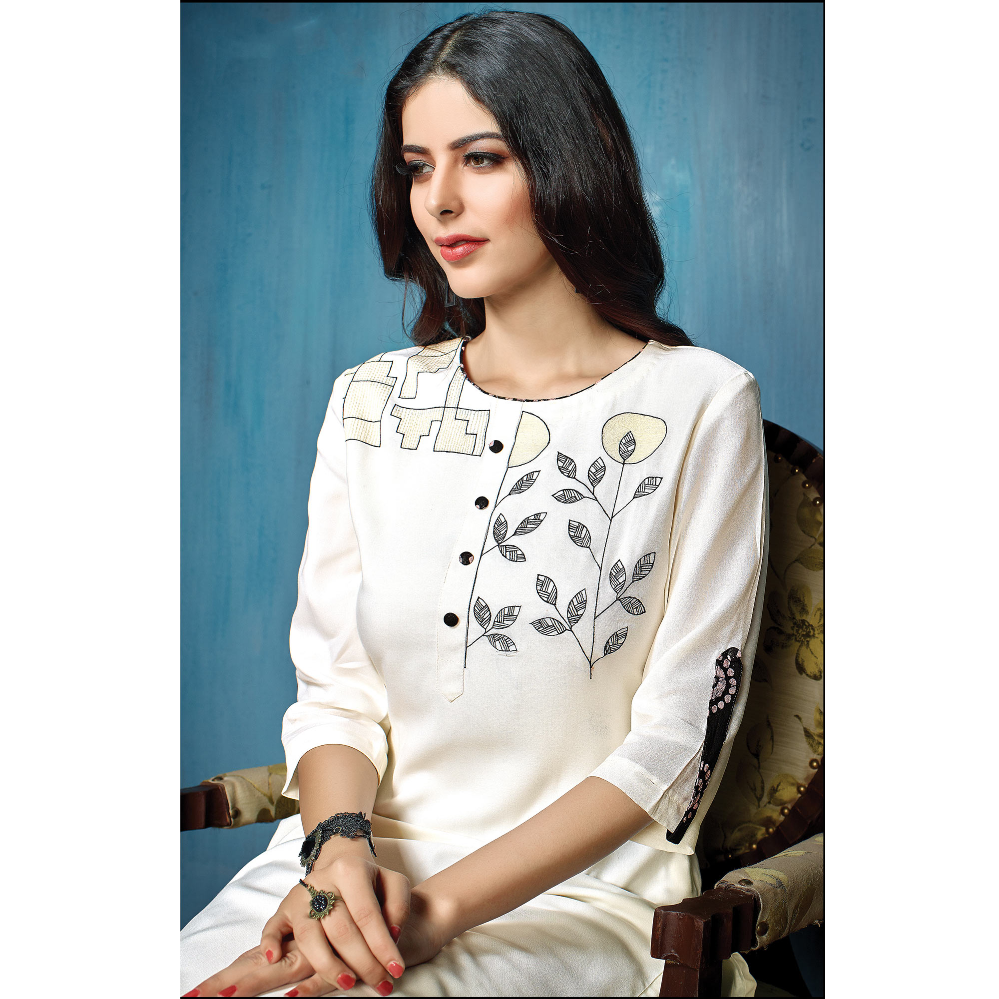 Eye-Catching White-Black Colored Partywear Embroidered Rayon-Cotton Kurti-Bottom Set