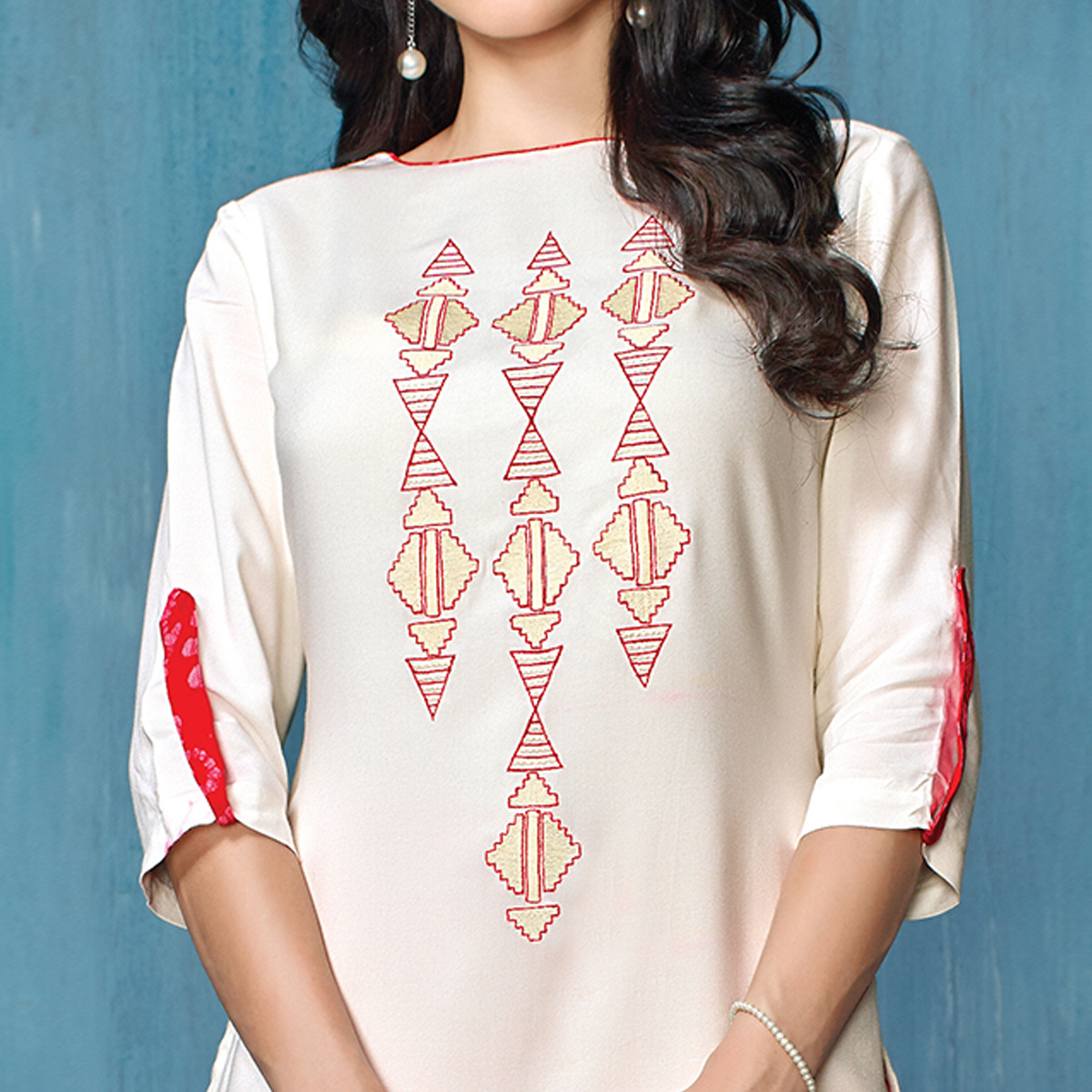 Trendy White-Red Colored Partywear Embroidered Rayon-Cotton Kurti-Bottom Set