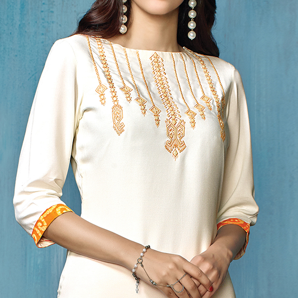 Blooming White-Orange Colored Partywear Embroidered Rayon-Cotton Kurti-Bottom Set