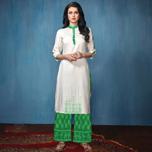 Refreshing White-Green Colored Partywear Embroidered Rayon-Cotton Kurti-Bottom Set