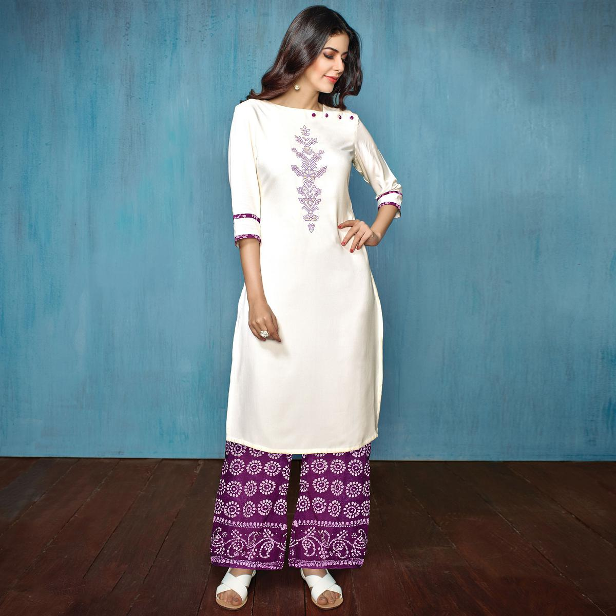 Amazing White-Purple Colored Partywear Embroidered Rayon-Cotton Kurti-Bottom Set