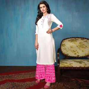 Charming White-Pink Colored Partywear Embroidered Rayon-Cotton Kurti-Bottom Set
