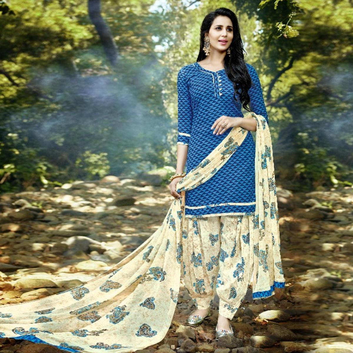 Attractive Blue-Cream Colored Casual Wear Printed Cotton Patiala Suit