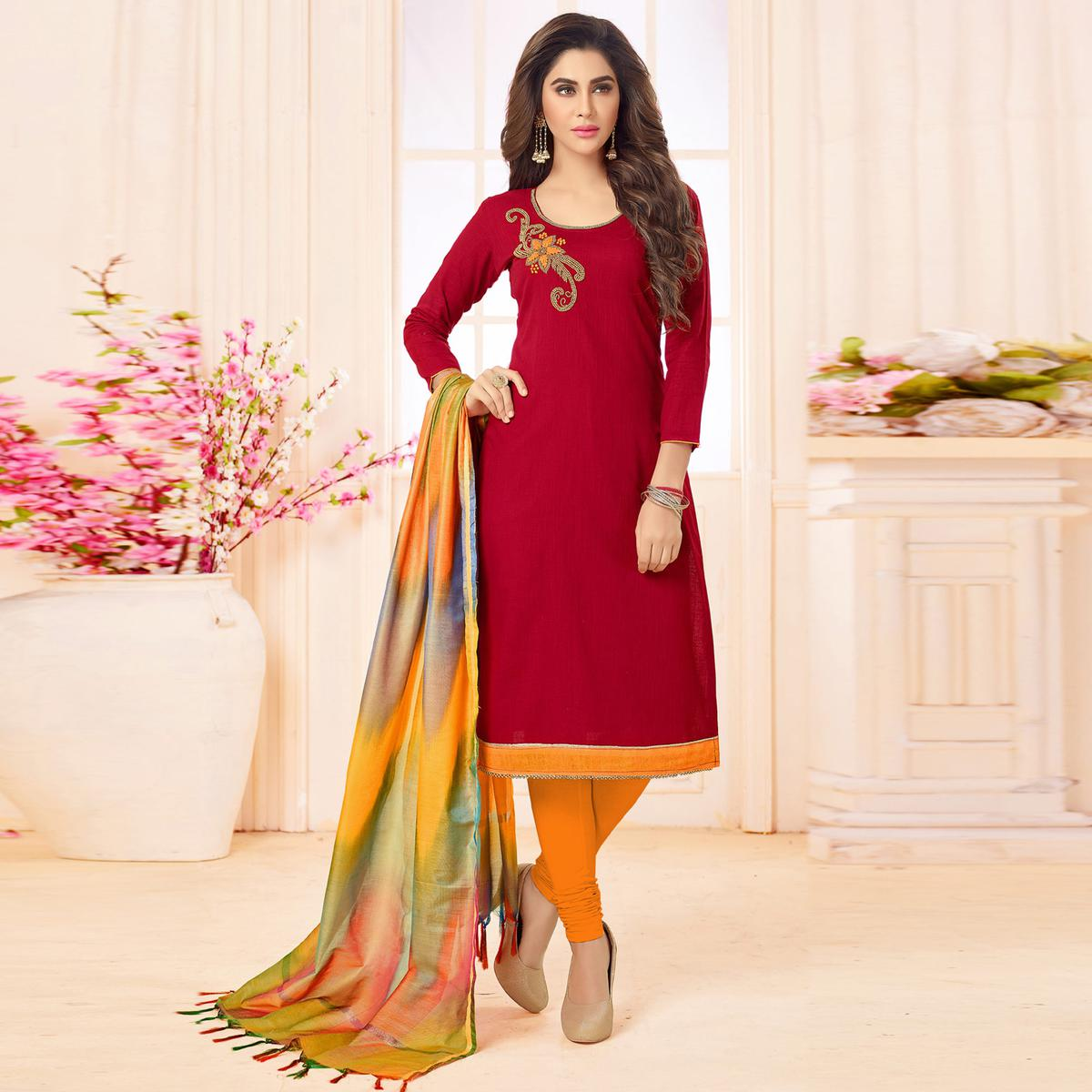 Adorning Red Colored Embroidered Khadi Silk Dress Material