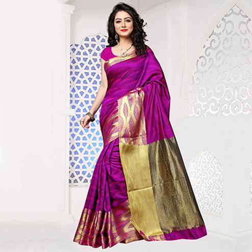 Pink Art Silk Meena Border Saree