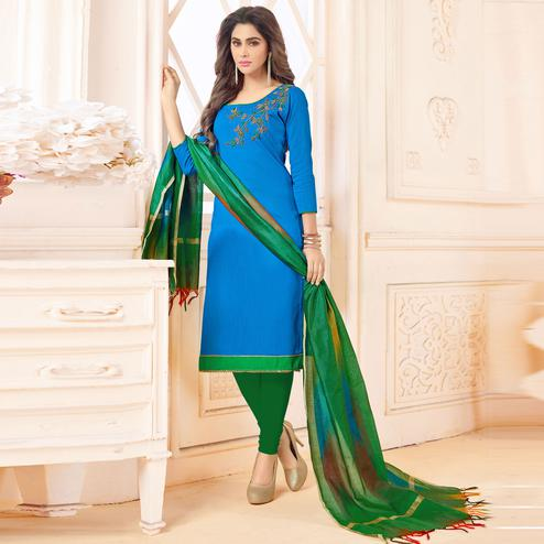 Beautiful Sky Blue Colored Embroidered Khadi Silk Dress Material