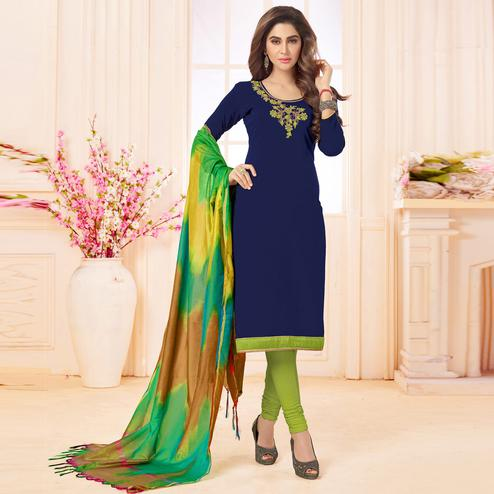 Attractive Navy Blue Colored Embroidered Khadi Silk Dress Material