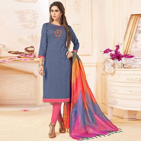 Trendy Gray Colored Embroidered Khadi Silk Dress Material