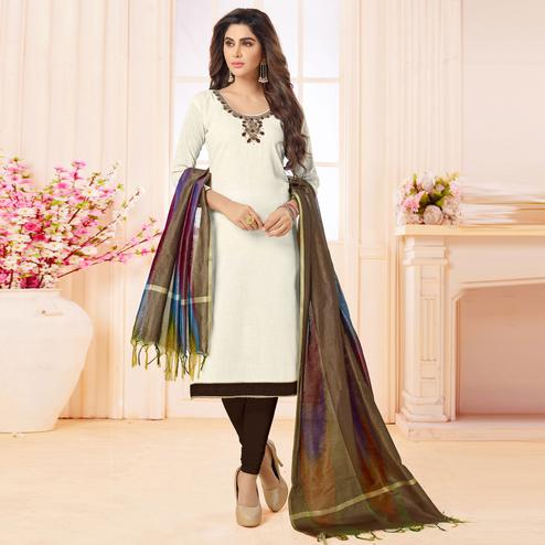 Pleasant White Colored Embroidered Khadi Silk Dress Material