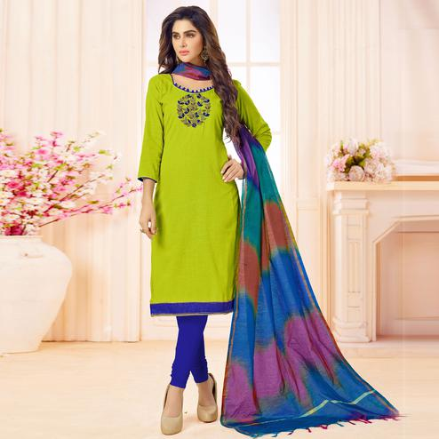 Unique Green Colored Embroidered Khadi Silk Dress Material