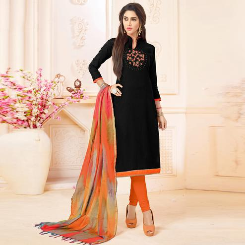 Flaunt Black Colored Embroidered Khadi Silk Dress Material