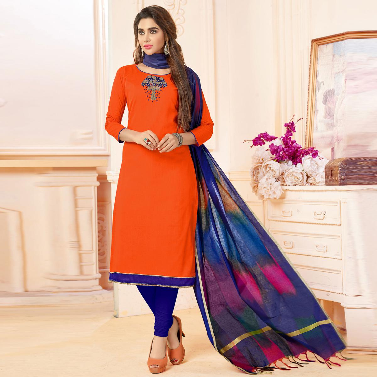 Traditional Orange Colored Embroidered Khadi Silk Dress Material