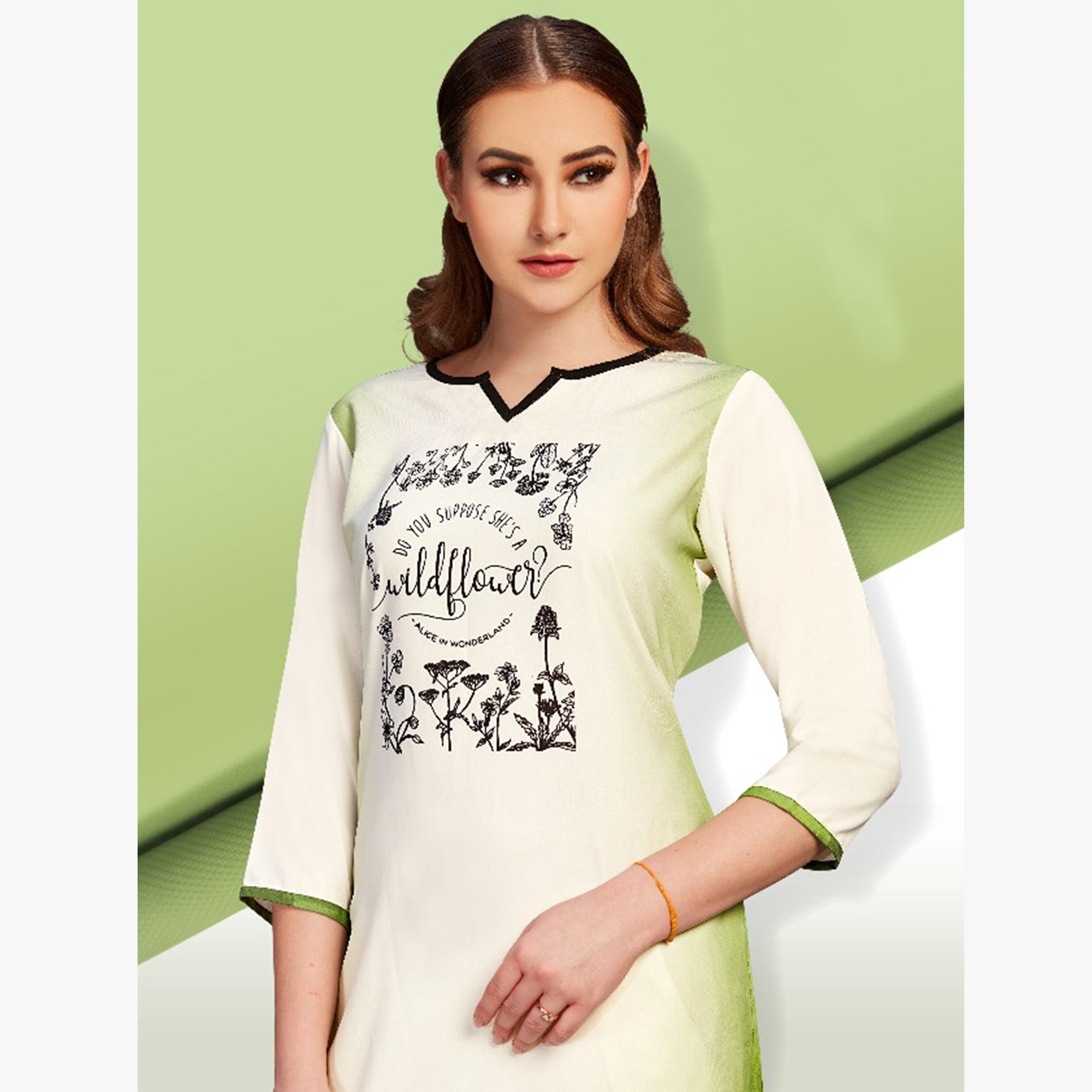 Appealing Off-White Colored Partywear Printed Cotton Kurti