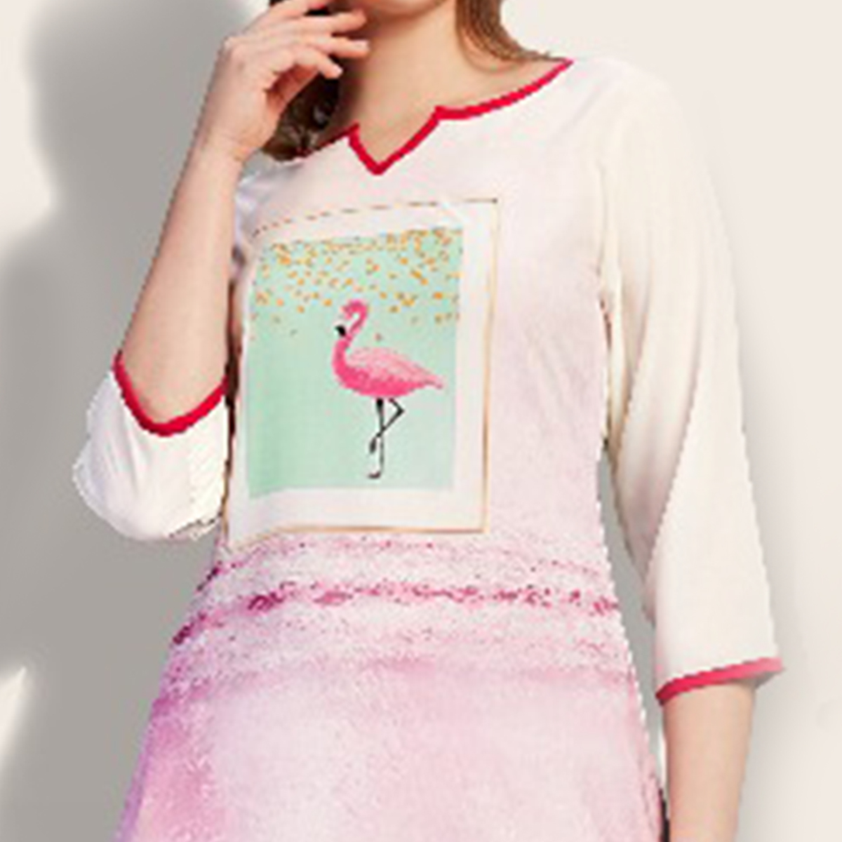 Attractive White-Pink Colored Partywear Printed Cotton Kurti