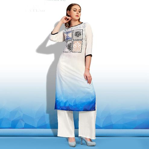 Blooming White-Blue Colored Partywear Printed Cotton Kurti