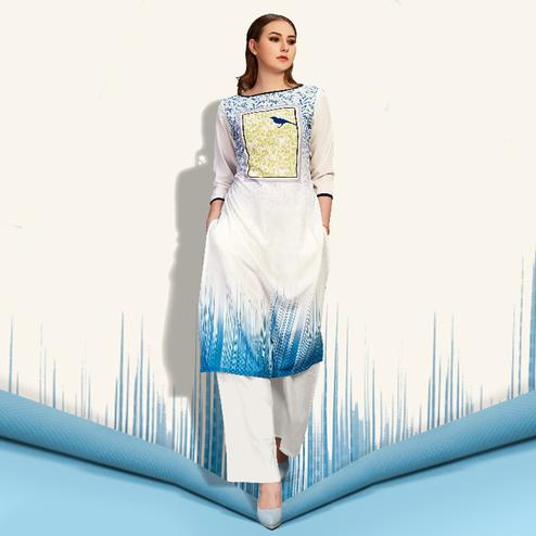 Different White-Blue Colored Partywear Printed Cotton Kurti