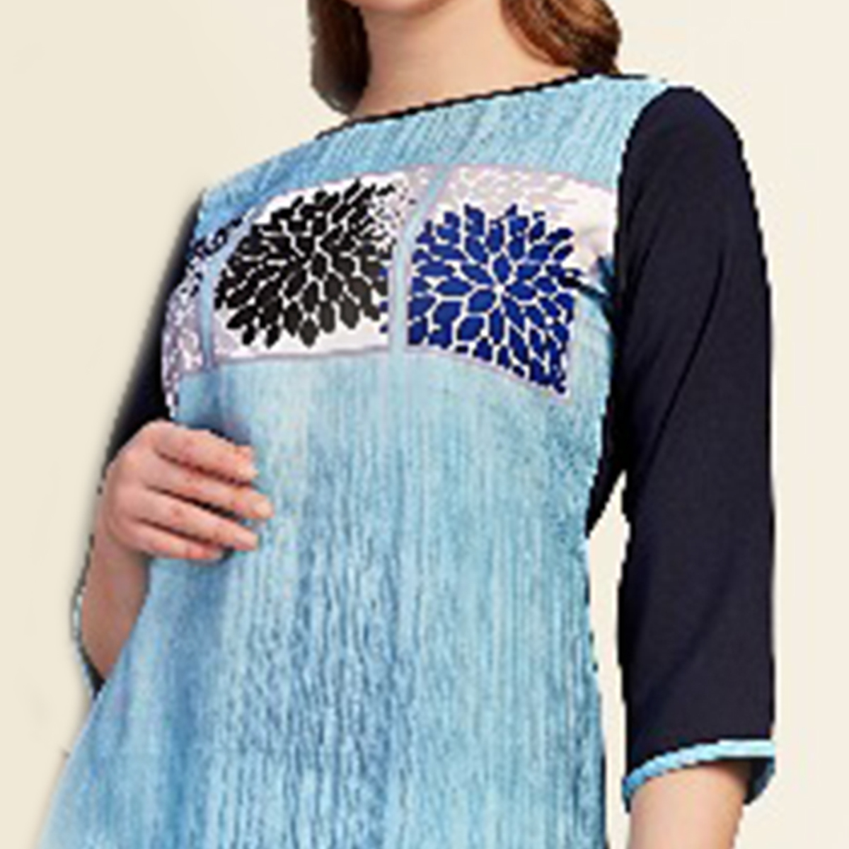 Glowing Blue Colored Partywear Printed Cotton Kurti
