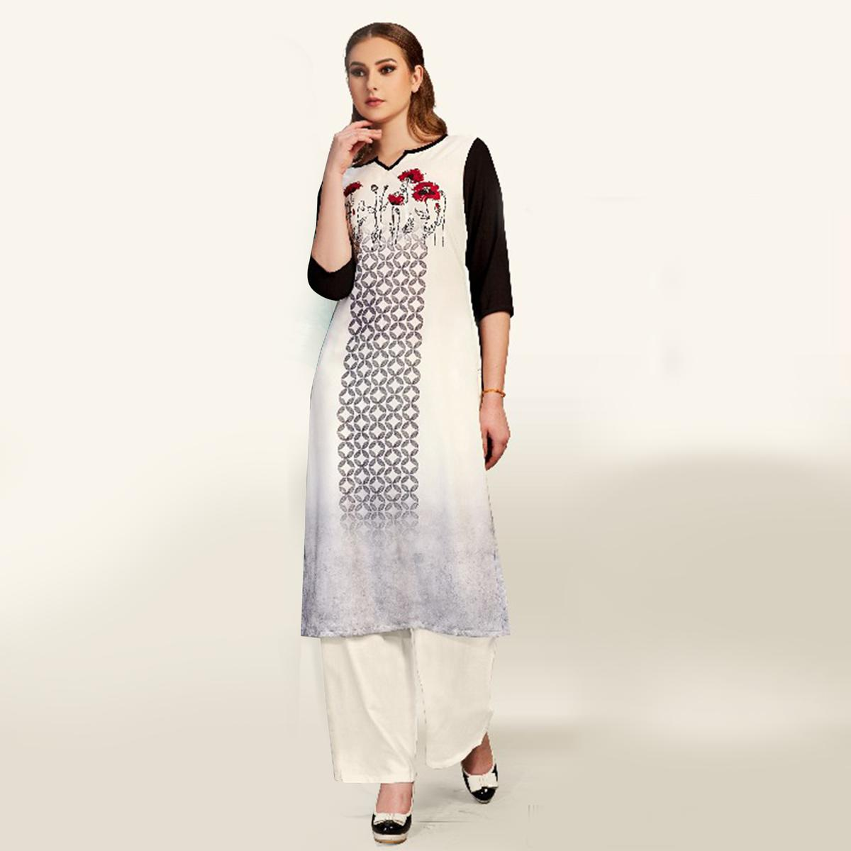 Classy Off-White Colored Partywear Printed Cotton Kurti