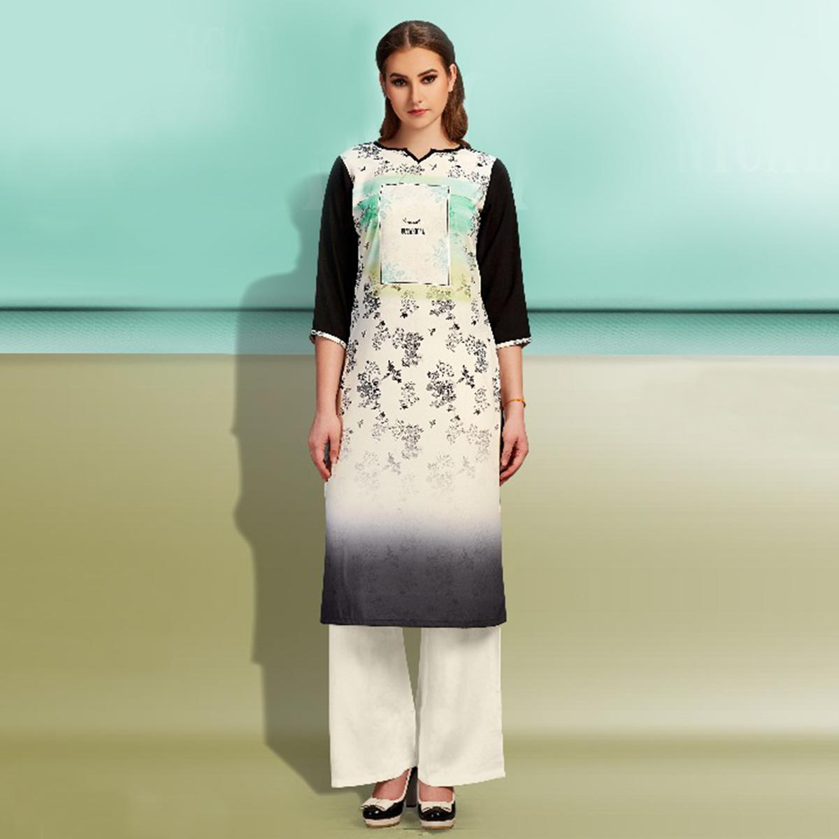 Excellent Off-White-Black Colored Partywear Printed Cotton Kurti