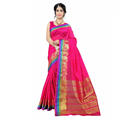 Pink Festive Wear Cotton Silk Woven Saree