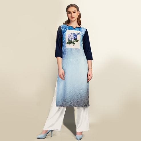 Gorgeous Light Blue Colored Partywear Printed Cotton Kurti