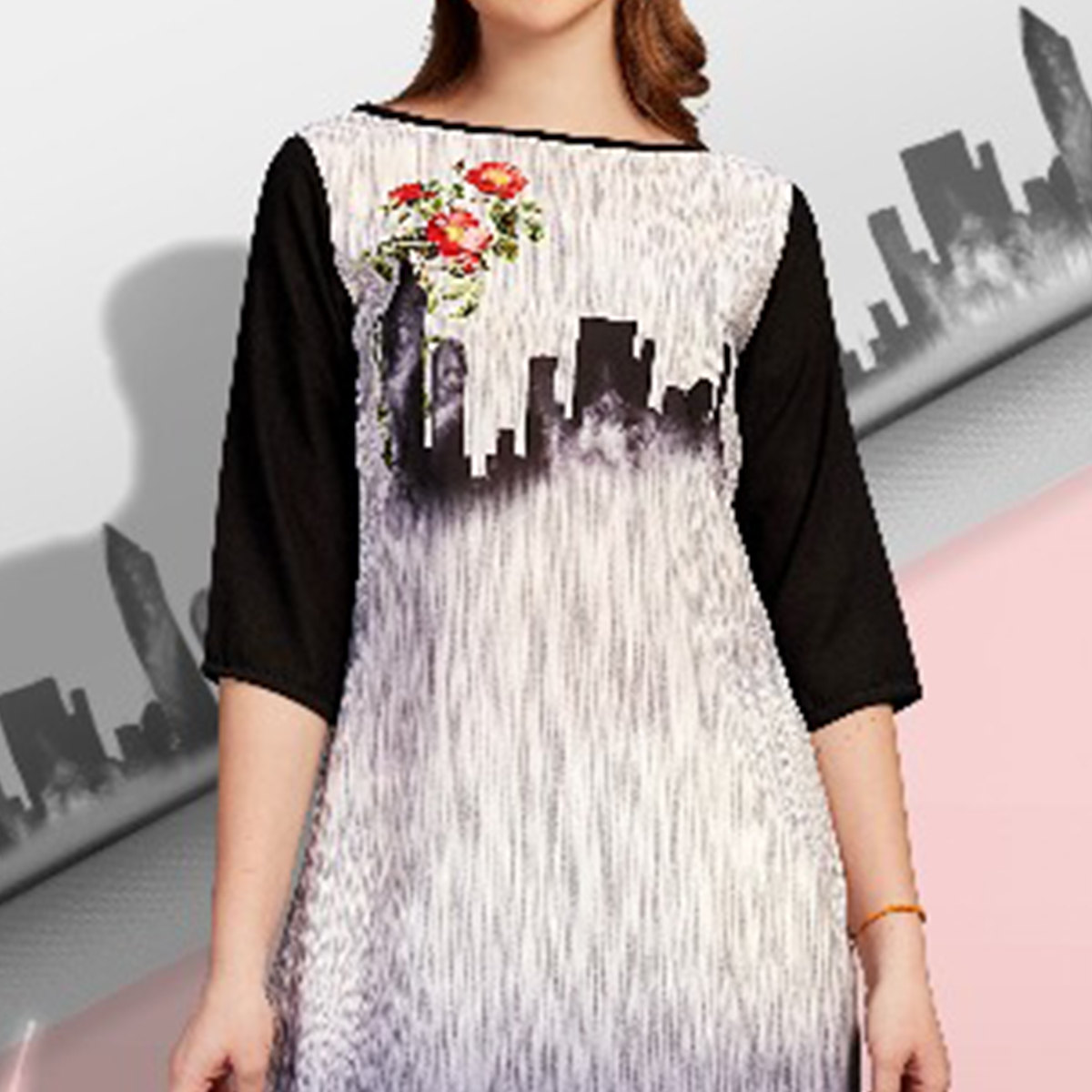 Stunning Off-White-Black Colored Partywear Printed Cotton Kurti